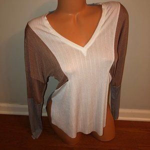 Zara Color Block Ribbed Long Sleeve Shirt Small
